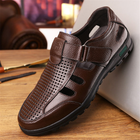 Shawbest-Hollow Out Men Genuine Leather Sandals