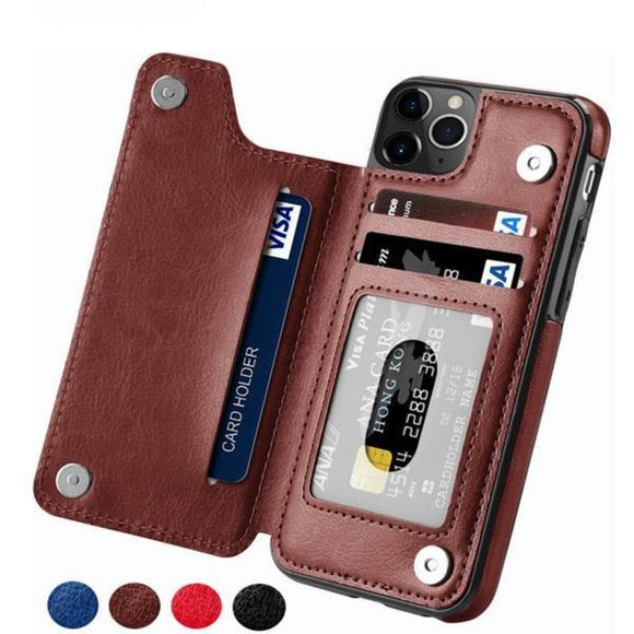 Luxury Retro Leather Card Slot Holder Cover Case For iPhone