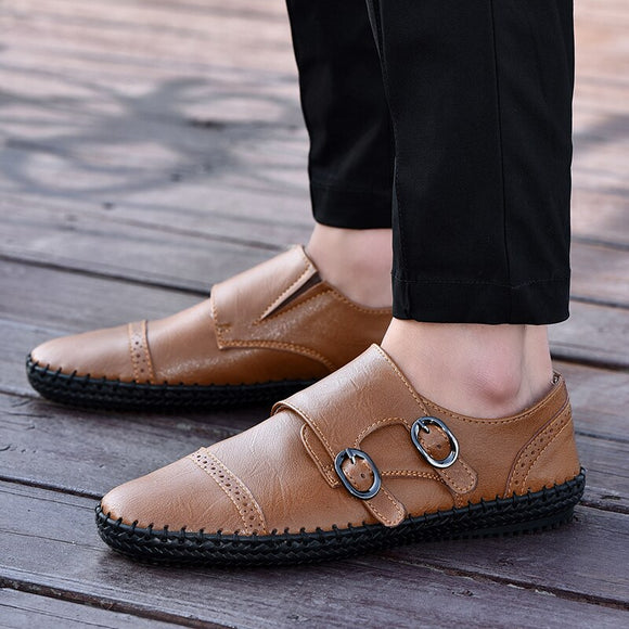 Mens Fashion Buckle Business Casual Shoes