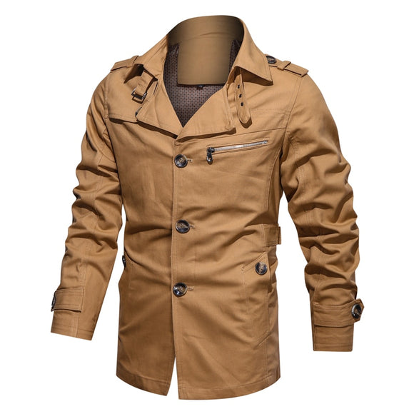 Men's Casual Trench Coat Windbreaker