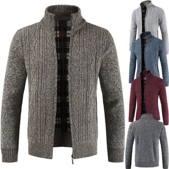Men's Stand Collar Zipper Knitted Casual Sweatercoat