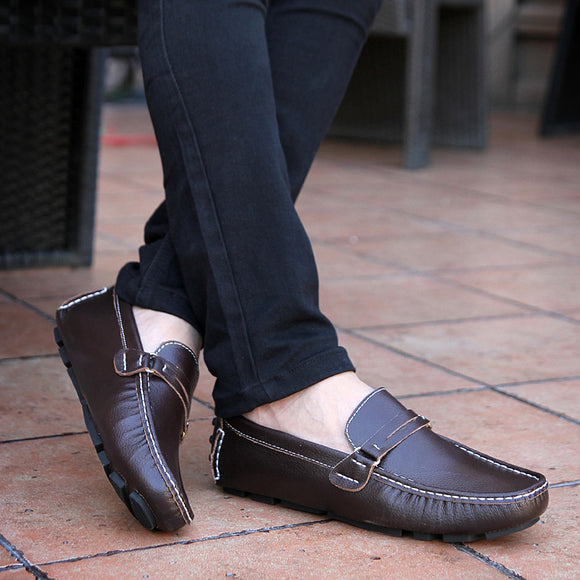 Men's Leather flat Breathable Casual Shoes