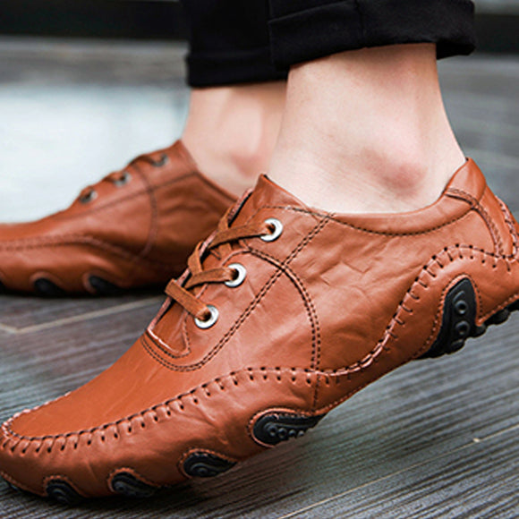 Men's Lace-up Leather Slip-on Casual Shoes