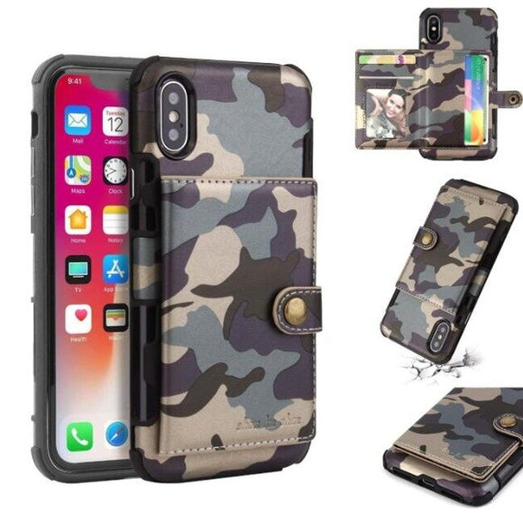 Shawbest - Fashion Camouflage Army Flip Wallet Card Holder Case For iphone