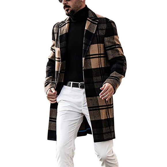 Men's Slim Fit Woolen Casual Long Trench Coat
