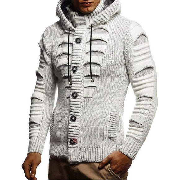 Long Sleeve Hooded Cardigan Sweater For Men
