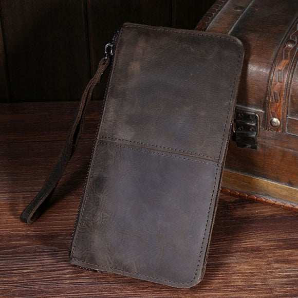 Men's Hand Holding Vintage Leather Wallet
