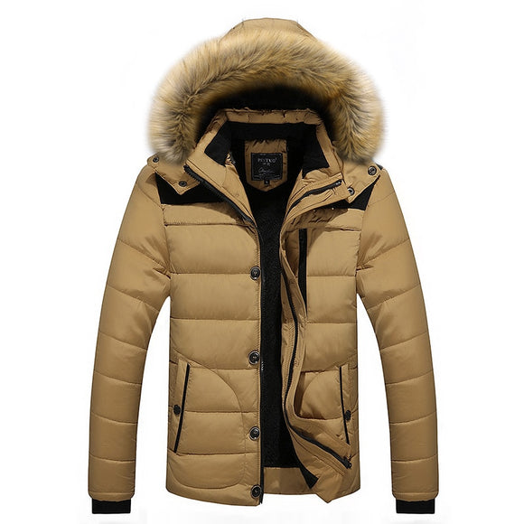 Shawbest - Fur Collar Hooded Men Winter Jacket
