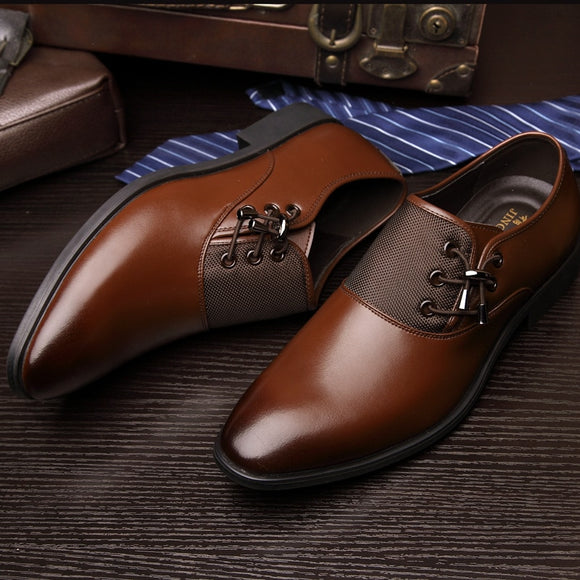 Shawbest - Men Lace-up Leather Dress Shoes