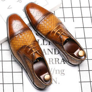 Weave Pattern Artificial Leather Men Formal Oxford Shoes