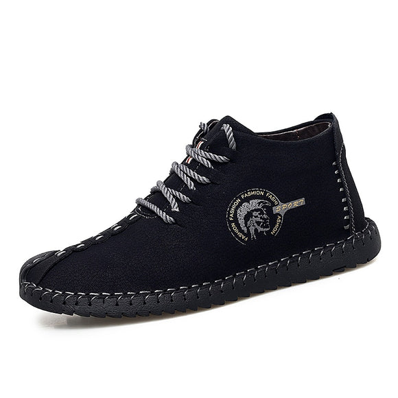 Men's Leather Plush Lining Casual Boots