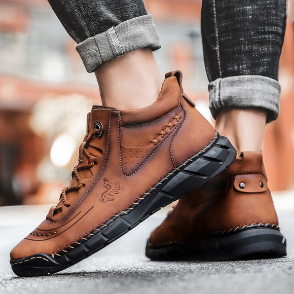 Shawbest - Men Handmade Split Leather Outdoor Ankle Boots