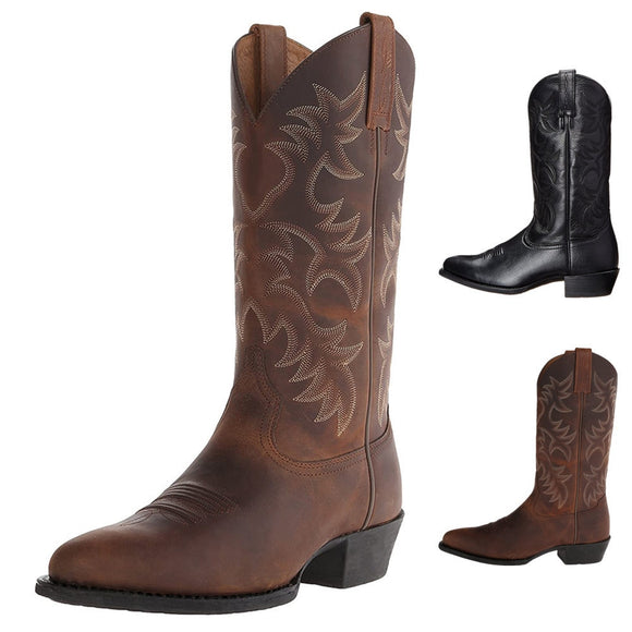 Shawbest - Autumn Winter Embroidered Men's Middle Tube Cowboy Boots