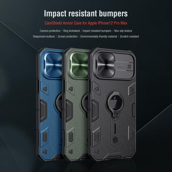 Impact Resistant Armor Cover Slide Camera Case for iPhone 12