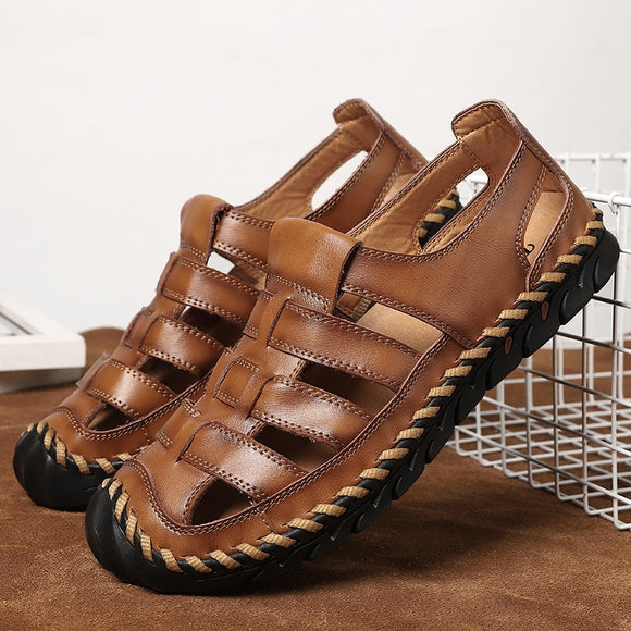 Shawbest-New Summer Male Genuine Leather Sandals