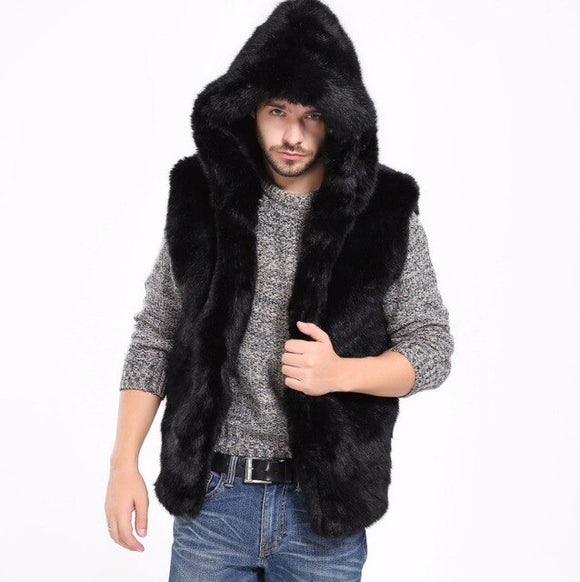 Faux Fur Winter Hooded Men's Vest