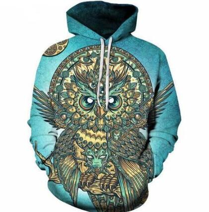 Owl 3D Hoodies Men Sweatshirt