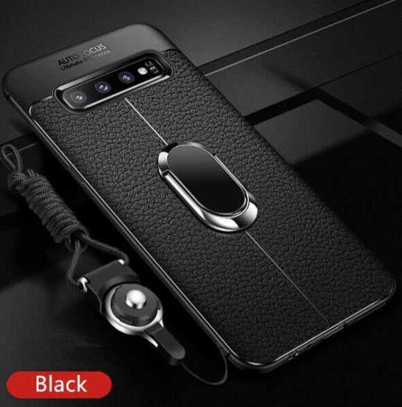 Shawbest - Magnetic Ring PU Leather Soft Silicone TPU Holder Cover For Samsung Galaxy Note 20 Ultra