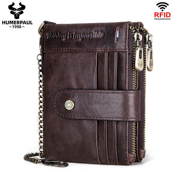 Shawbest-Men Genuine Leather Retro Foldable Card Holder Coin Wallet