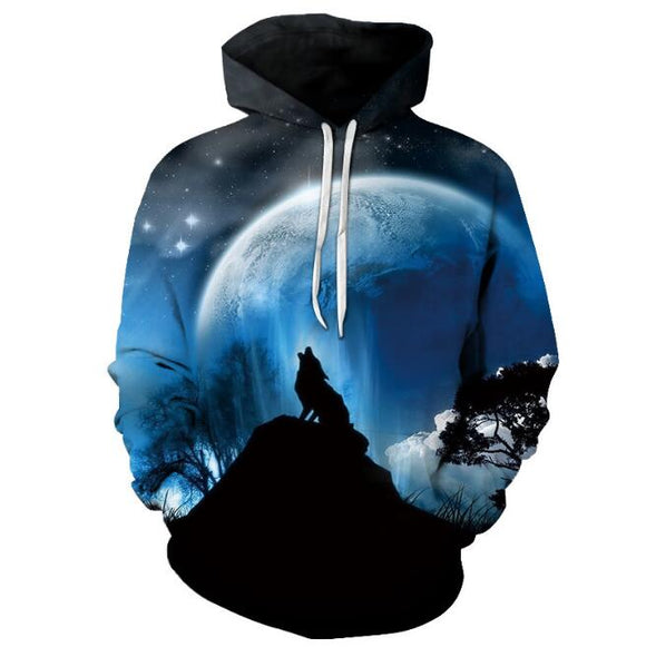 New Fashion Wolf Printed Men 3D Hoodies