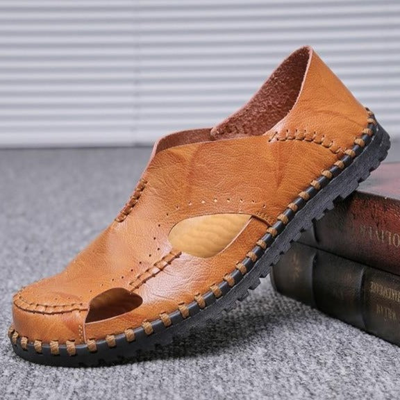 Shawbest-Genuine Leather Men Casual Sandals