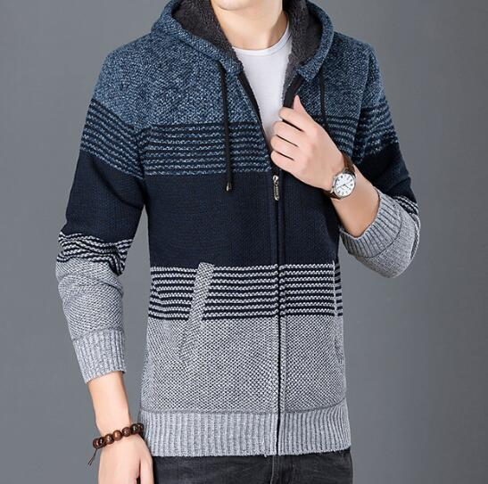 Mens Casual Striped Wool Hooded Jacket