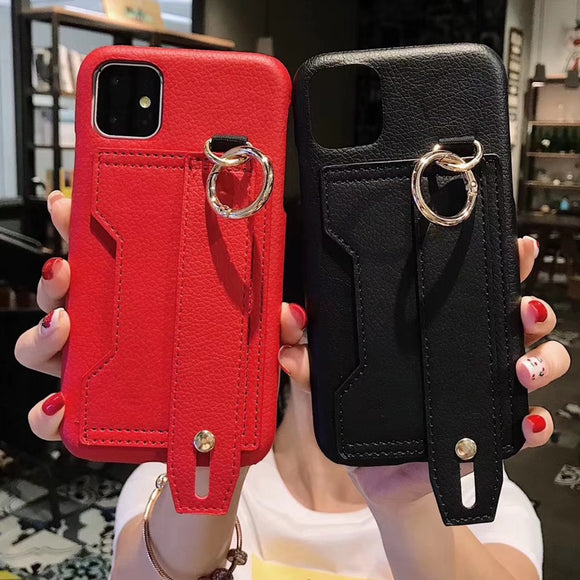 IPhone Leather Wristband Card Slot Protective Case