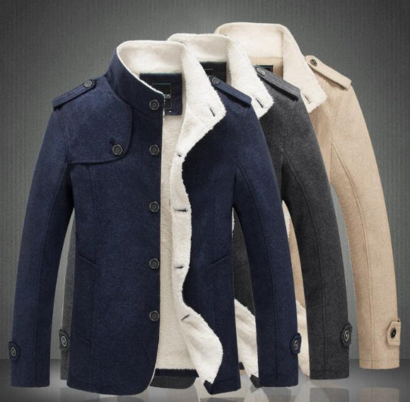 Men Wool Blends Thick Warm Winter Coats