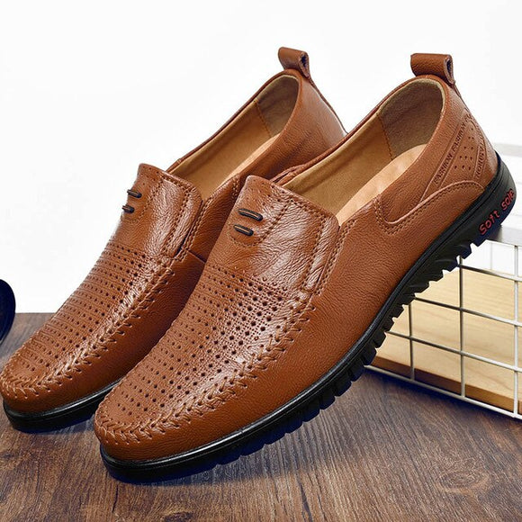 Shawbest - Genuine Leather Breathable Loafer Casual Shoes