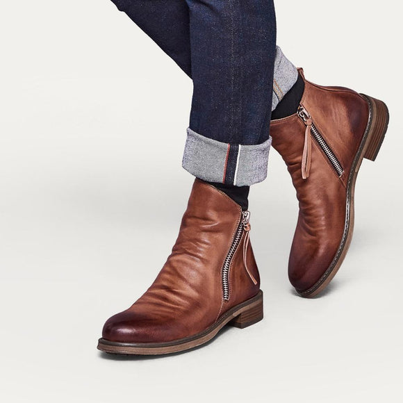 Shawbest - New Autumn Mens Fashion High-top Leather Boots