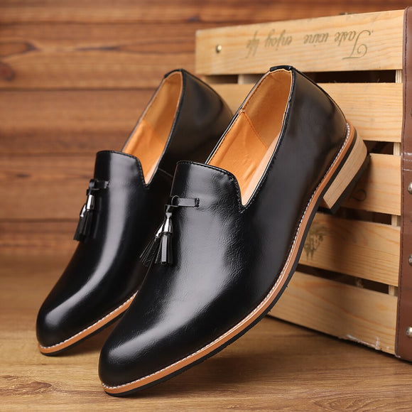 Shawbest - Pointed Toe Soft Leather Men Casual Wedding Shoes