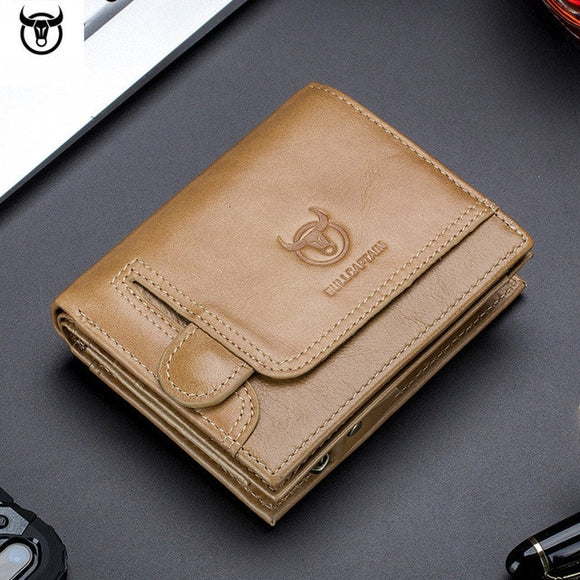 Shawbest-Men Genuine Leather Thin Card Holder Wallet Driver's License Wallet