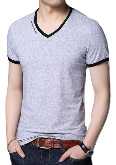 V-Neck Slim Fit Short Sleeve T Shirt - Hoodlery