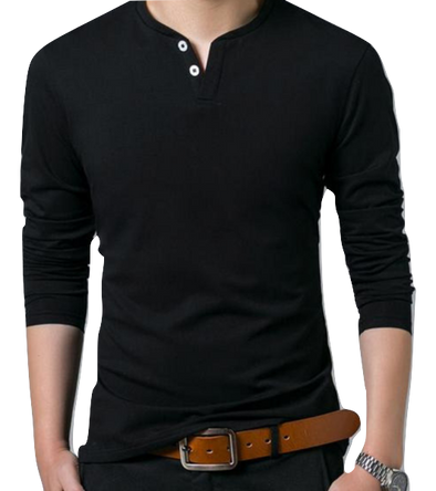 Black Button T shirt - Hoodlery