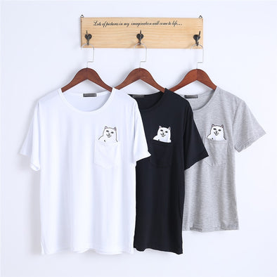 Cat pocket T-shirt - Hoodlery