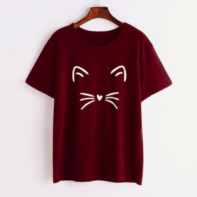 Cat O-Neck Loose T Shirt - Hoodlery