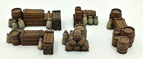 28mm Resin Terrain Accessories - Crates, Barrels & Sacks Set #1 (5 Pieces)