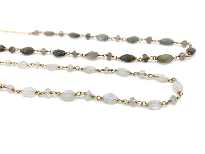 Labradorite or Moonstone Gem Choker