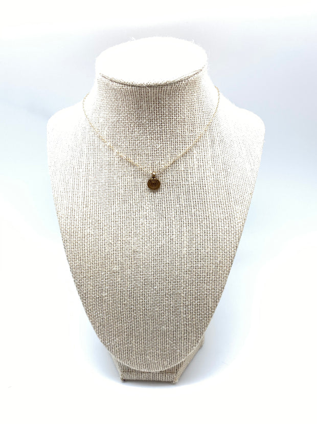 The Micro Golden Labyrinth Coin Necklace