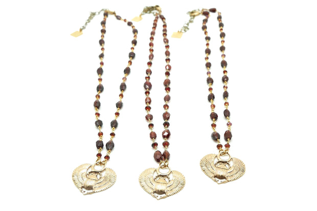 The Garnet Sacred Scarab Necklace Price