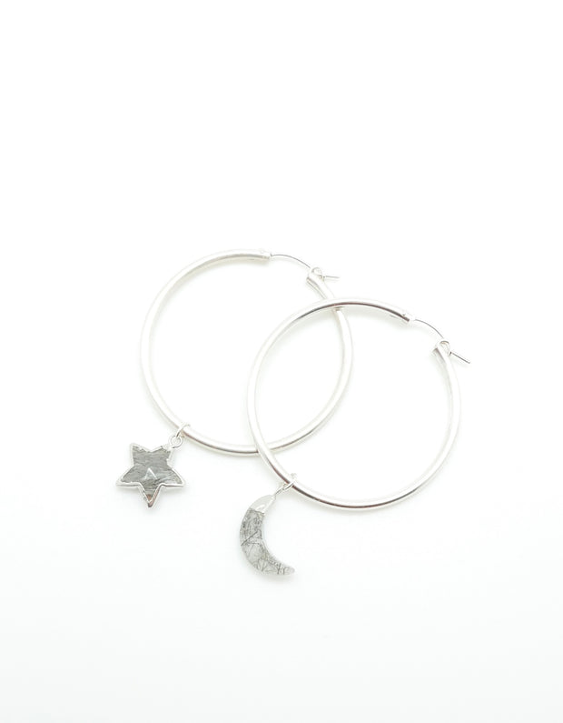 Tourmalated Quartz Hoops