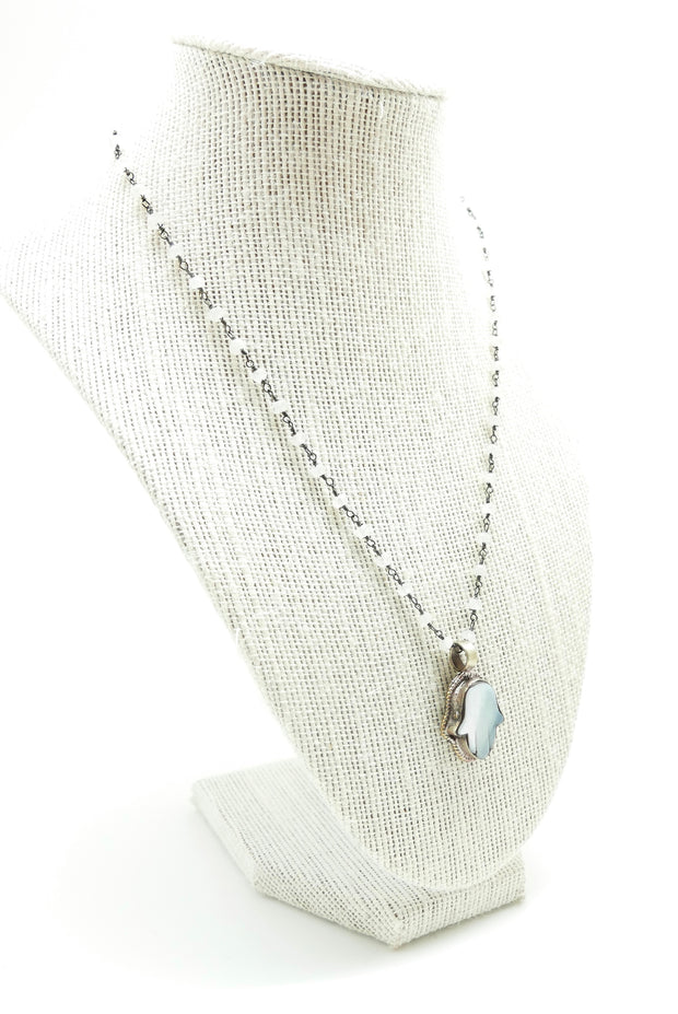 Moonstone Hamsa Blessing Necklace