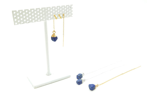 Rough Lapis Silver Ear Threader