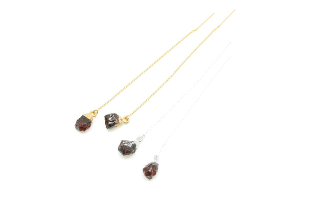 Rough Garnet Ear Threader