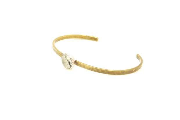 Tourmalated Quartz Brass Everyday Cuff