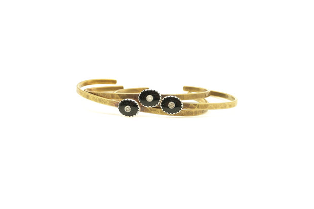 Vintage Onyx & Diamond Cuff (Brass)