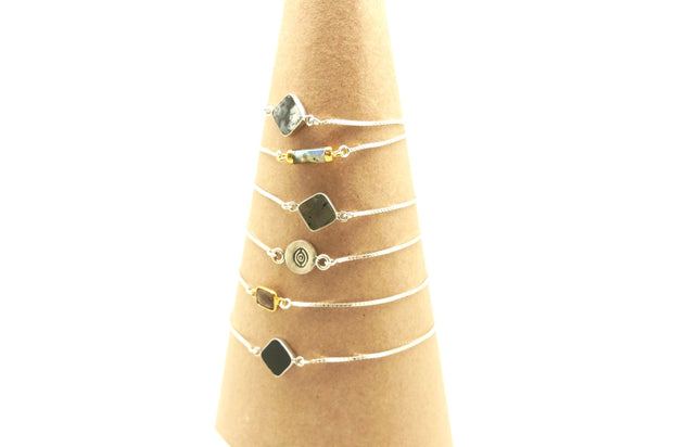 Smoky Quartz Gold & Silver Slider Bracelet