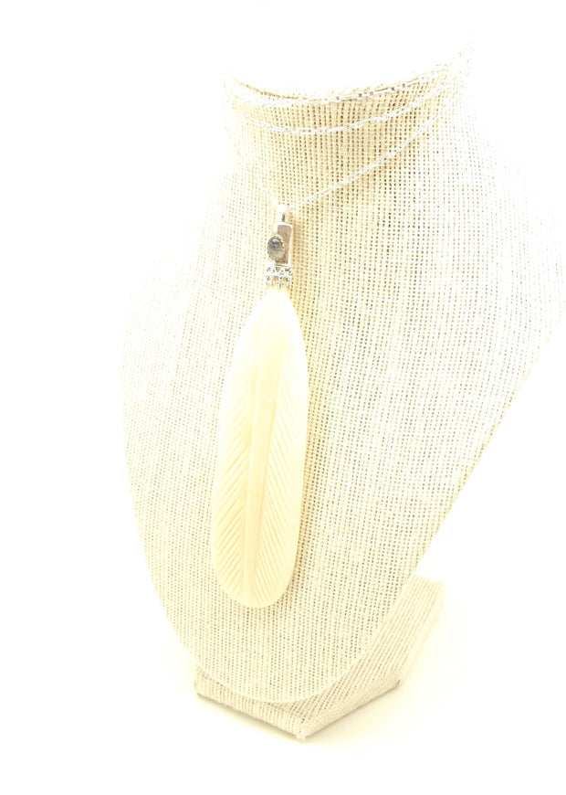 Bone Feather Moonstone Talisman