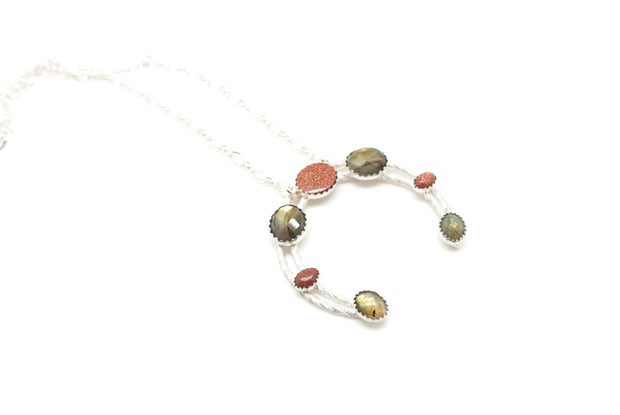 Labradorite and Goldstone Naja Necklace