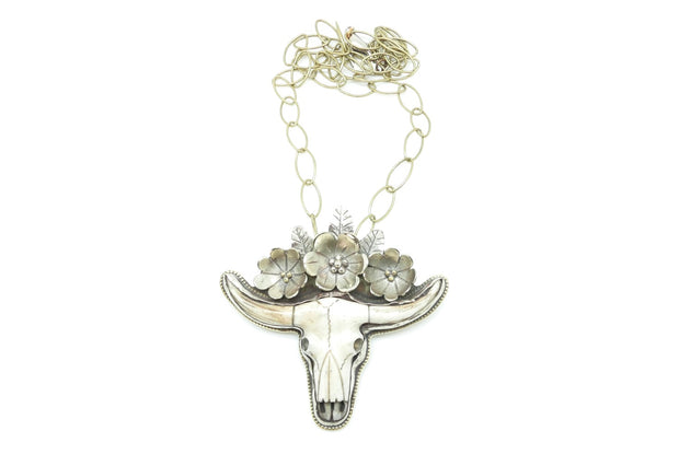 Large Longhorn Flower Bone Necklace